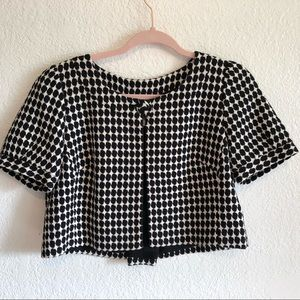LOFT Short Sleeved Houndstooth Cropped Jacket